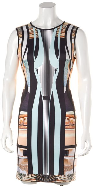 CLOVER CANYON Multi-Color Abstract Sleeveless Sheath Dress