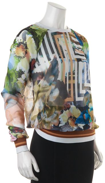 CLOVER CANYON Multi-color Abstract Long Sleeve Sheer Blouse Top