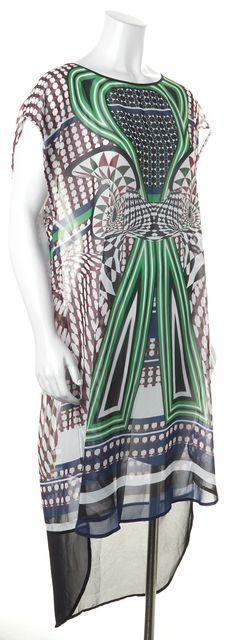 CLOVER CANYON Blue Brown Geometric Print Sheer Beach Cover-Up Shift Dress