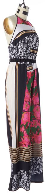 CLOVER CANYON Black Pink Multi-Color Abstract Floral Halter Jumpsuit