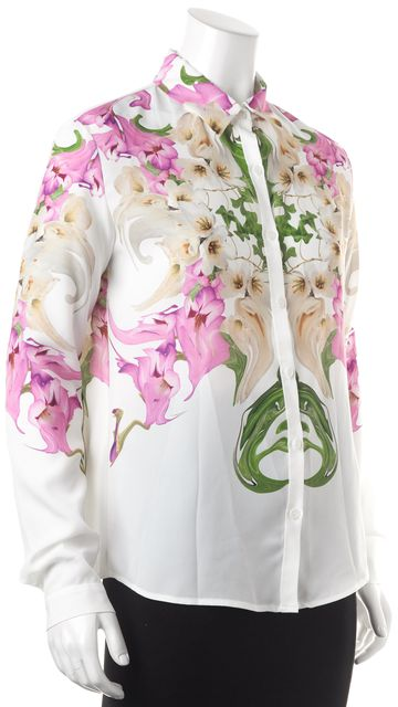 CLOVER CANYON White Pink Floral Button Down Shirt