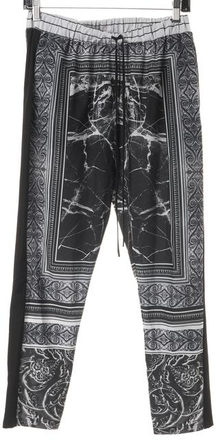 CLOVER CANYON Black Etched Marble Drawstring Stretch Casual Pants