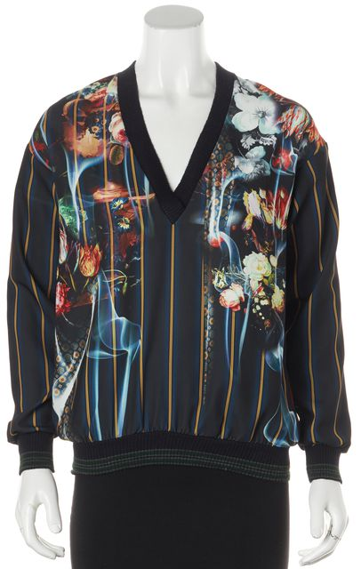 CLOVER CANYON Navy Blue Yellow Floral Striped Long Sleeve V-Neck Blouse