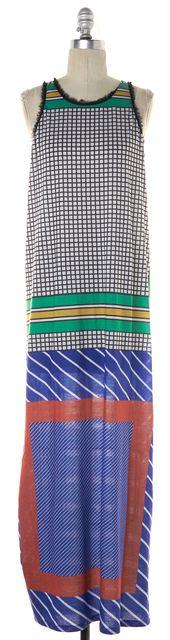 CLOVER CANYON Red Yellow Blue Green Checkers Stripe Silk Maxi Dress