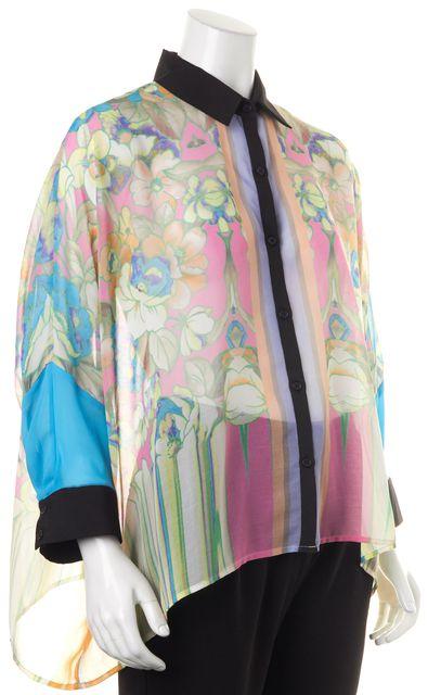 CLOVER CANYON Pink Green Blue Floral Sheer Oversized Button Down Shirt