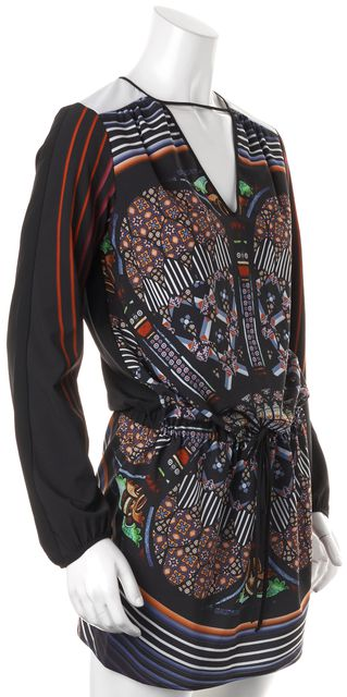 CLOVER CANYON Black Multi-Color Abstract Cut Out Shift Dress