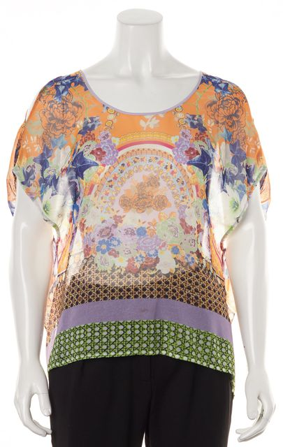 CLOVER CANYON Multi-Color Abstract Floral Sheer Cold Shoulder Blouse