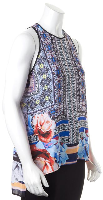 CLOVER CANYON Blue Orange Multi Abstract Floral Printed Sleeveless Blouse