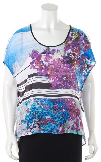 CLOVER CANYON Purple White Blue Floral Striped Oversized Blouse Top