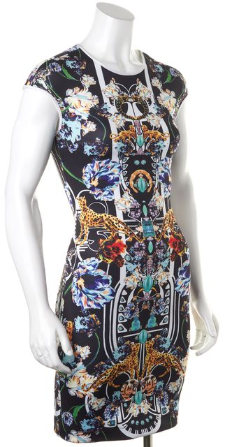 CLOVER CANYON Black Jewelry Jewel Print Sheath Dress