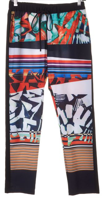 CLOVER CANYON Black Orange Blue Abstract Striped Casual Pants