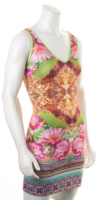 CLOVER CANYON Multi-color Abstract Tropical Floral Print Bodycon Dress