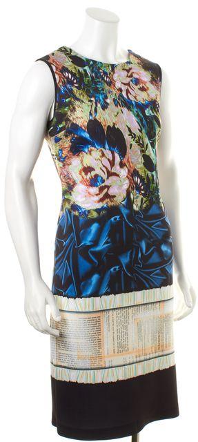 CLOVER CANYON Black Multi-Color Graphic Neoprene Sleeveless Stretch Dress