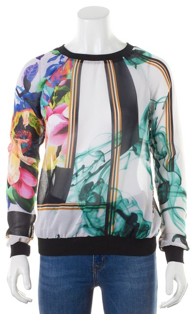 CLOVER CANYON Multi-Color Sheer Floral Long Sleeve Blouse Top