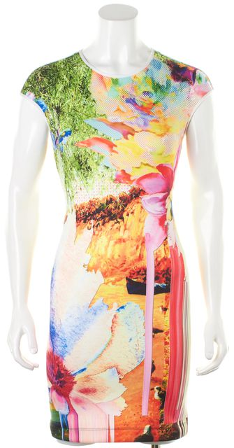 CLOVER CANYON Multi-Color Abstract Printed Bodycon Sheath Dress