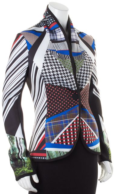 CLOVER CANYON Multi-Color Abstract Forest Jersey Lined One Button Blazer