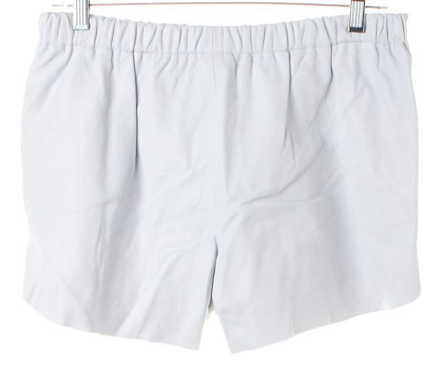 CLOVER CANYON White Leather Stretch Waist Mini Short Shorts