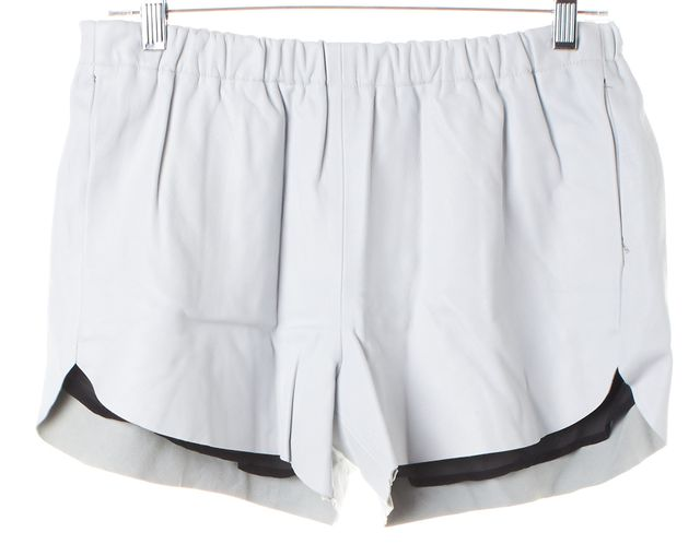 CLOVER CANYON White Leather Stretch Waist Mini Short Shorts