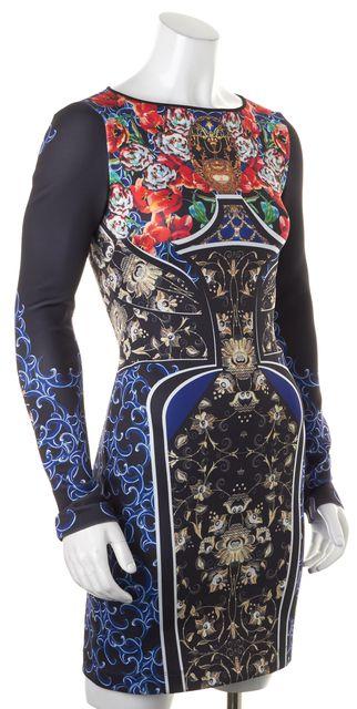 CLOVER CANYON Black Orange Blue Graphic Printed Neoprene Bodycon Dress