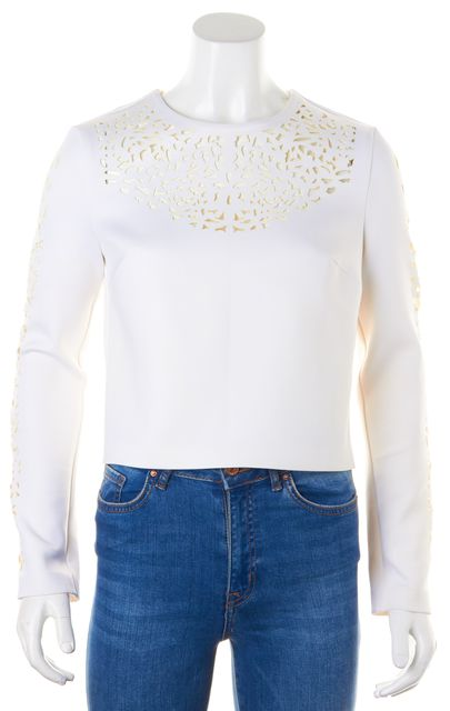 CLOVER CANYON White Laser Cut Long Sleeve Blouse Top