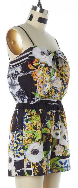 CLOVER CANYON Black Yellow White Abstract Spaghetti Strap Romper