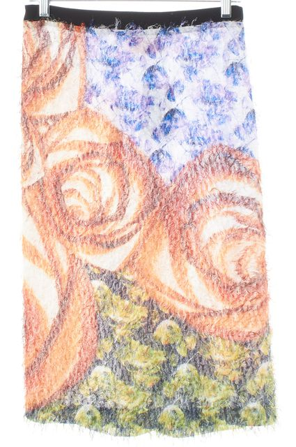 CLOVER CANYON Purple Orange Abstract Floral Fuzzy Textured Pencil Skirt