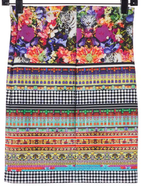 CLOVER CANYON Multi-Color Abstract Floral Straight Skirt