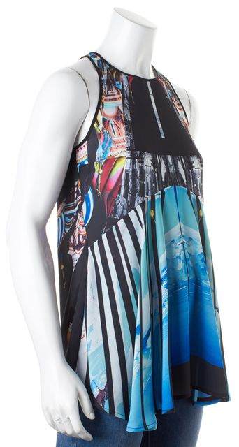 CLOVER CANYON Black Blue White Abstract Sleeveless Blouse