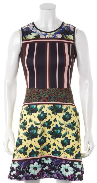 CLOVER CANYON Black Yellow Pink Floral Fit & Flare Dress