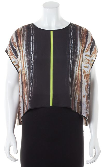 CLOVER CANYON Black Brown Abstract Oversized Blouse Top