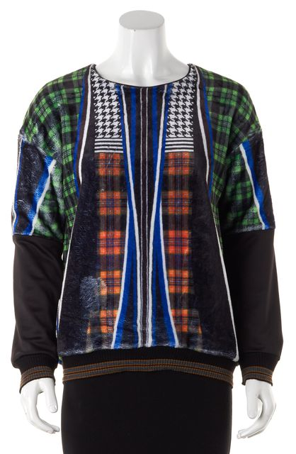 CLOVER CANYON Black Blue Multi Plaid Houndstooth Fuzzy Crewneck Sweater