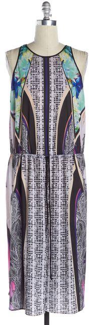 CLOVER CANYON Black Multi-Color Abstract Drawstring Sleeveless Maxi Dress