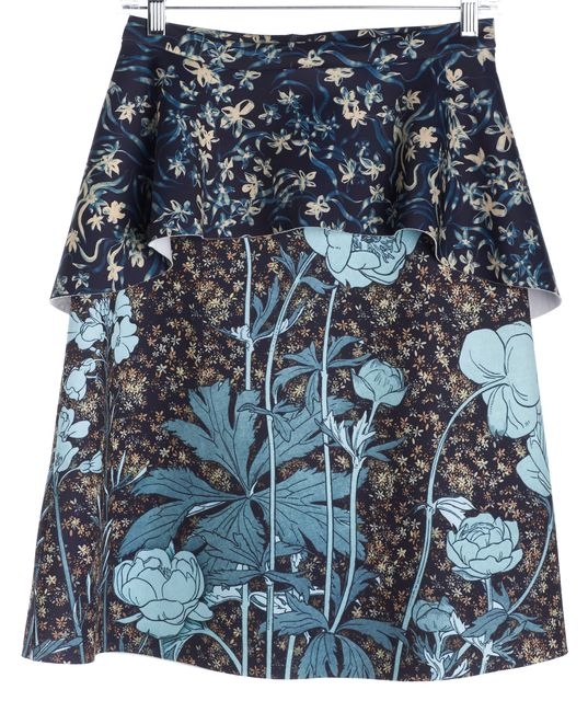 CLOVER CANYON Blue Multi Graphic Floral Print Neoprene Layered Pencil Skirt