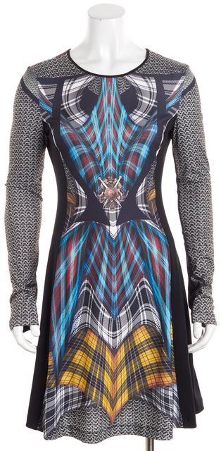 CLOVER CANYON Black Blue Red Yellow White Purple Abstract Shift Dress