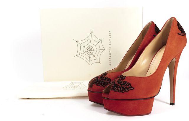 CHARLOTTE OLYMPIA Red Suede Peep Toe Dolly Platform Daphne Heels
