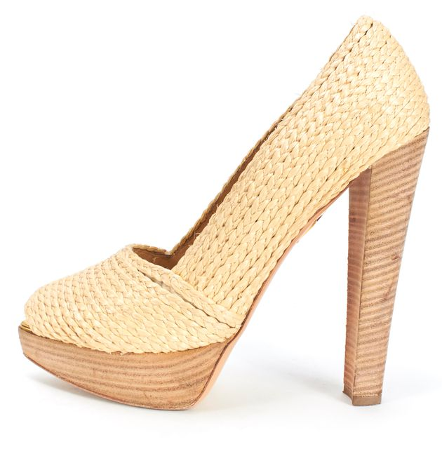 CHARLOTTE OLYMPIA Beige Straw Braided Peep-toe Stacked Heel Platform Pumps