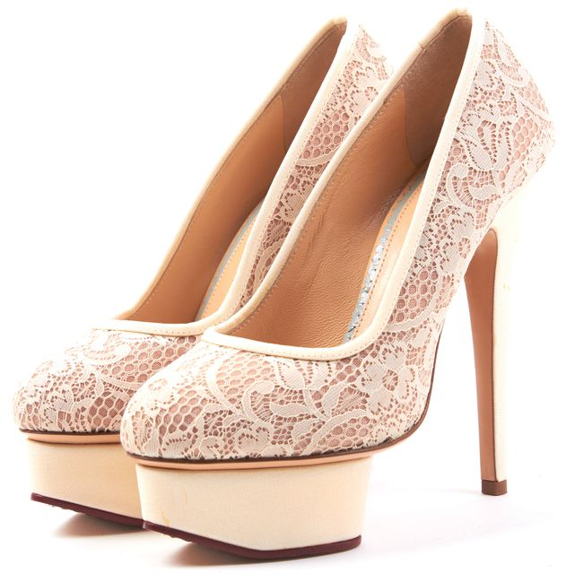 CHARLOTTE OLYMPIA Cream Nude Lace Leather Round Toe Platform Heels