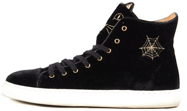 CHARLOTTE OLYMPIA Black Purrrfect Cat Embroidered Velvet High Top Sneakers