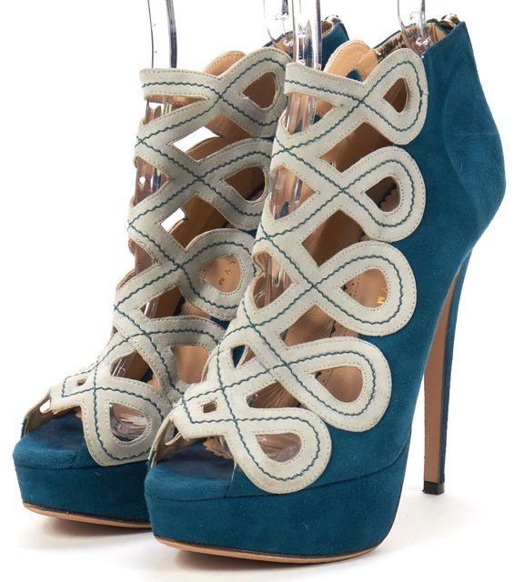 CHARLOTTE OLYMPIA Blue Geometric Suede Platforms Heels