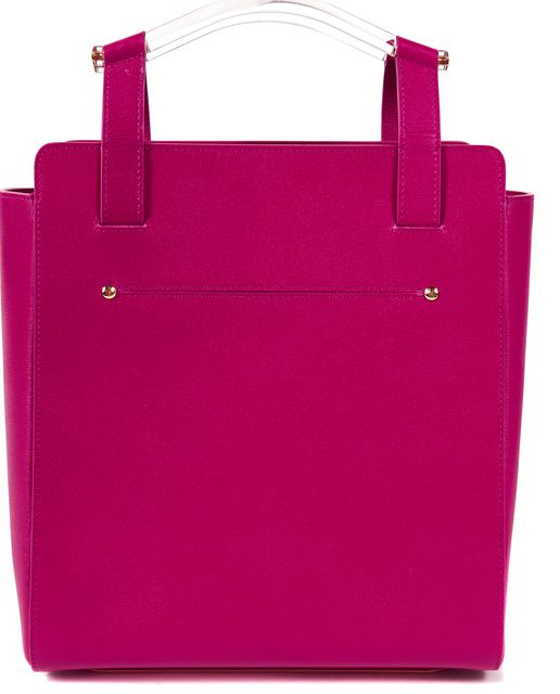 CHARLOTTE OLYMPIA Pink Genuine Leather Gold Trim Lucite Handle Gable Tote