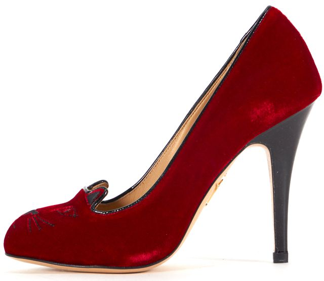 CHARLOTTE OLYMPIA Red Velvet Cat Embroidery Pump Heels