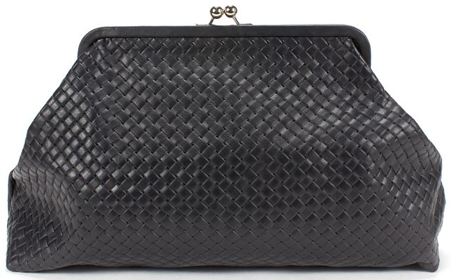 CLARE V. Black Woven Leather Kisslock Clutch Bag