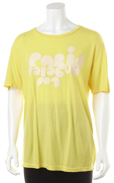 CLARE V. Yellow White Graphic Printed Jersey Short Sleeve Basic T-Shirt