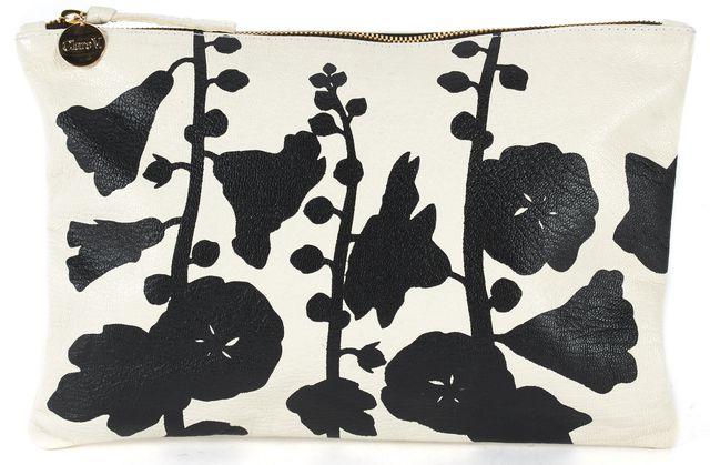 CLARE V. Cream Black Floral Leather Hollyhock Clutch