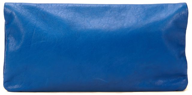 CLARE V. Blue Genuine Leather Fold Over Pouch Clutch Bag