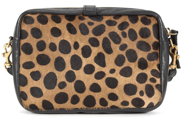 CLARE V. Black Leather Dalmatian Pattern Calf Hair Crossbody