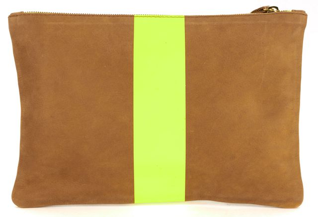 CLARE V. Camel Brown Neon Yellow Suede Strip Clutch
