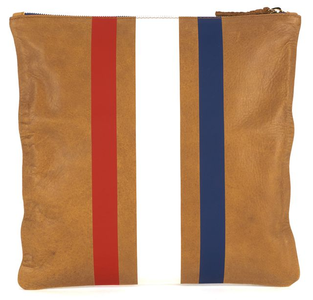 CLARE V. Tan Brown Red Blue Leather Supreme Flat Clutch