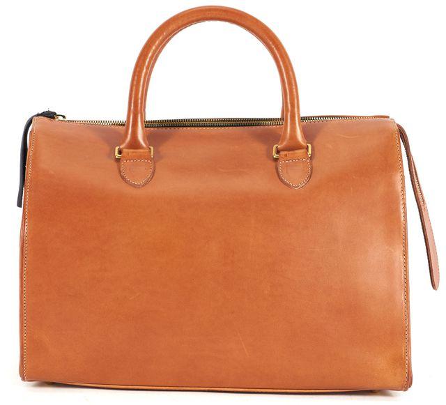 CLARE V. British Tan Brown Leather Petit Duffle Top Handle Bag