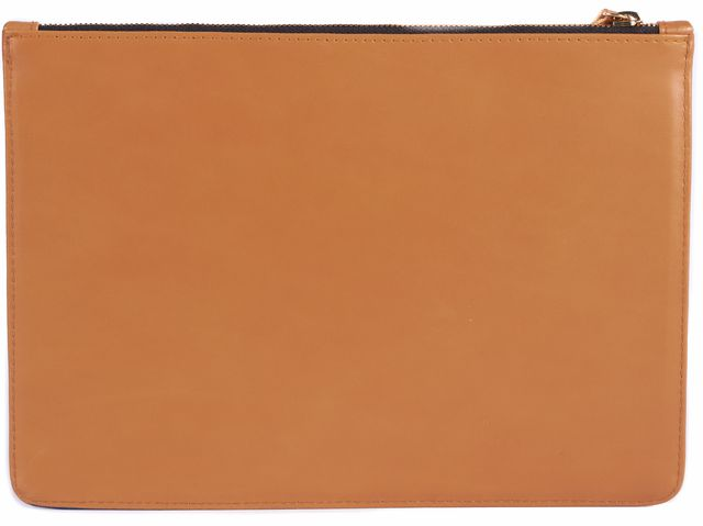 CLARE V. Tan and Blue Paris Leather Clutch